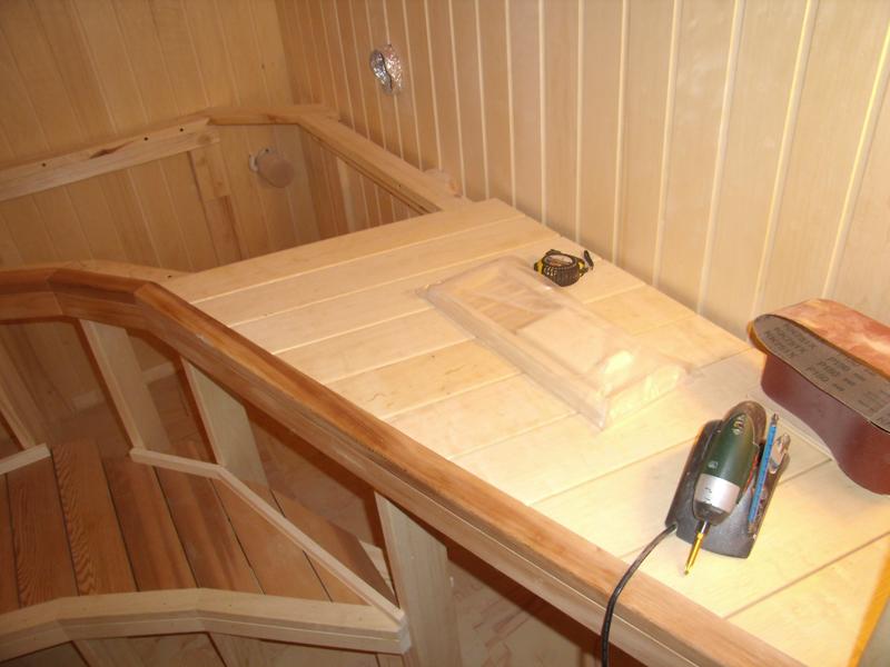 Как сделать полку для парилки в бане
